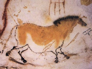 Pintura pré-histórica de um cavalo, nas cavernas Lascaux, localizadas no sudoeste da França.